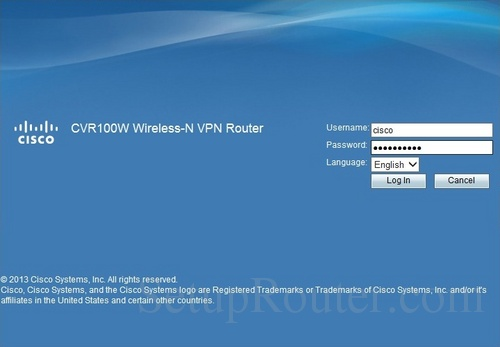 Cisco CVR100W Home Screen