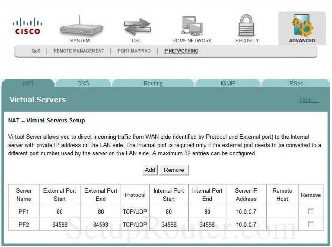 Cisco DDR2201v1 Screenshot Virtual Servers