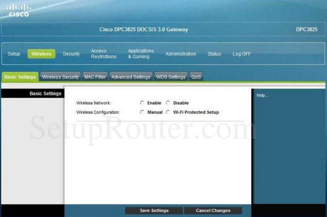 cisco dpc3825 screenshot wireless basic settings rh setuprouter com shaw cisco dpc3825 user manual shaw cisco dpc3825 user manual