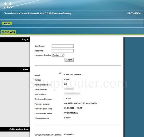 how to change cisco dpc3825 router password