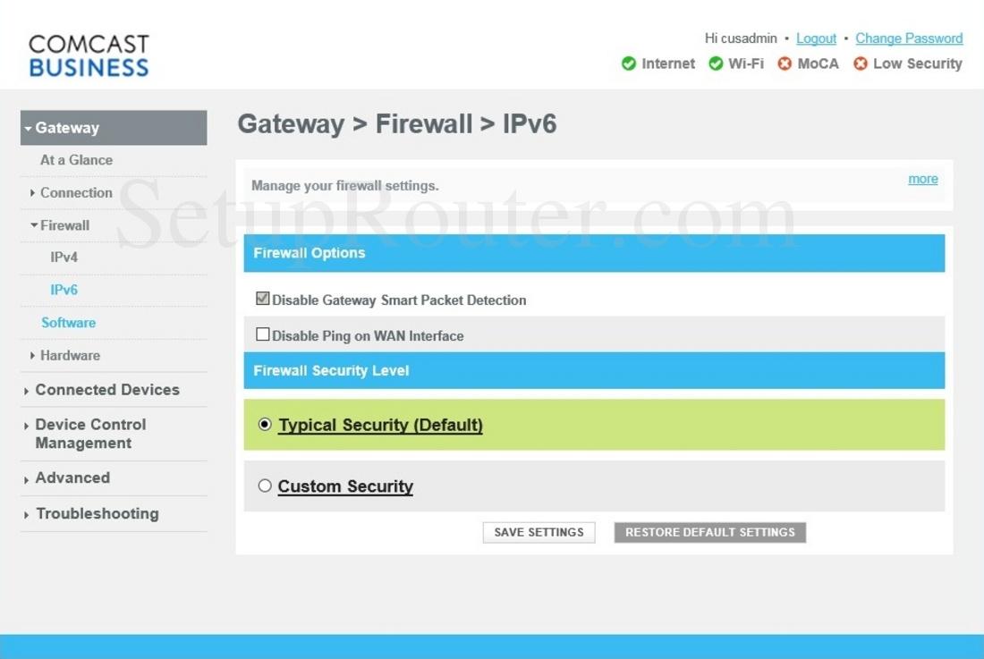 Cisco DPC3941B Screenshot FirewallIPv6