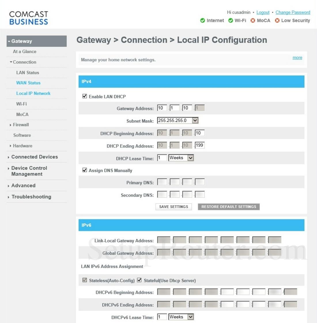 Cisco DPC3941B Screenshot LocalIPConfiguration