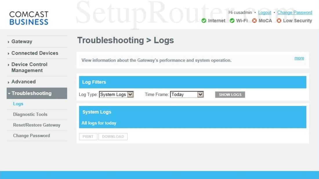 Cisco DPC3941B Screenshot Logs