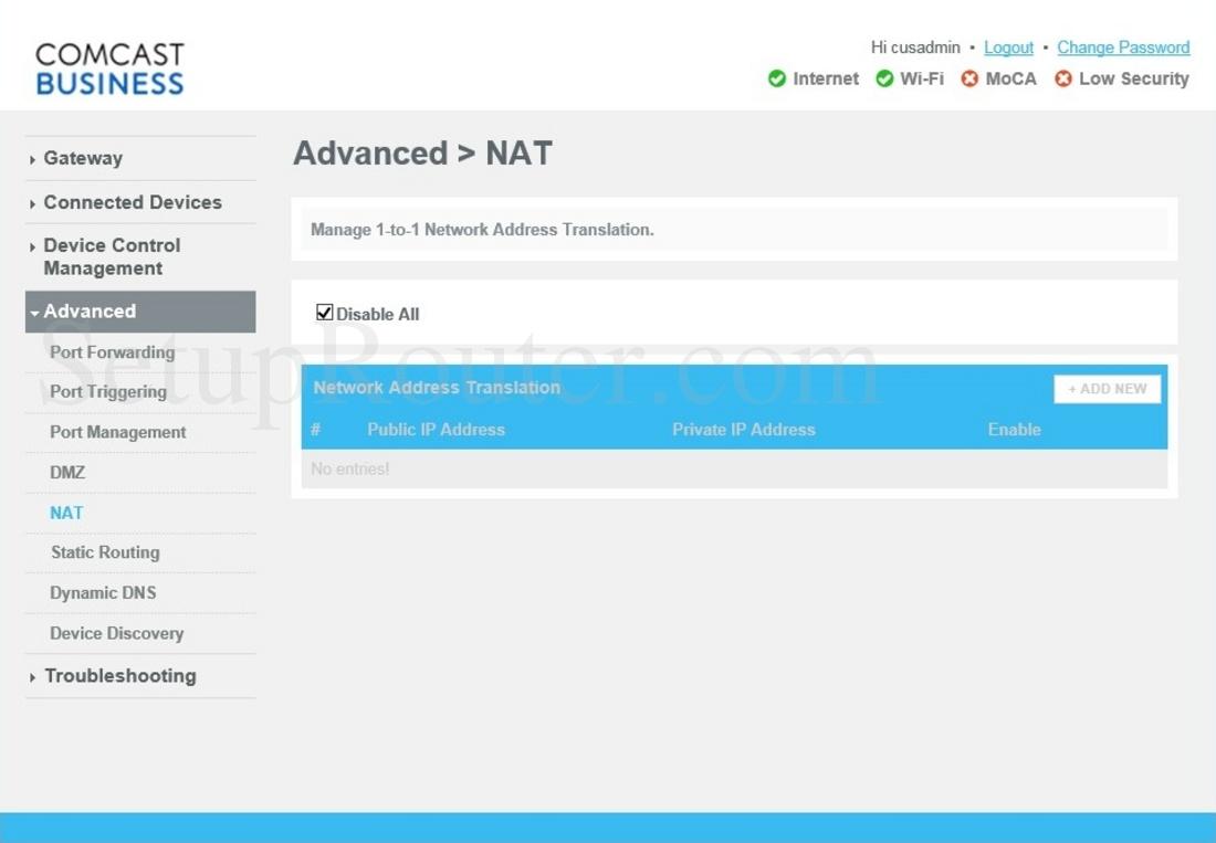Cisco DPC3941B Screenshot NAT