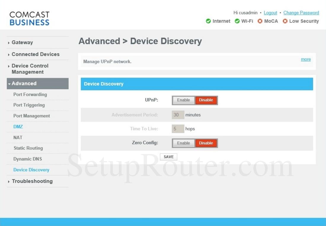 Cisco DPC3941B Screenshot DeviceDiscovery