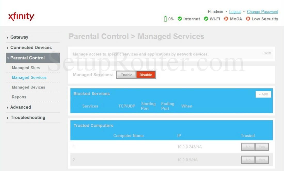 Cisco DPC3941T XFINITY Screenshot ManagedServices