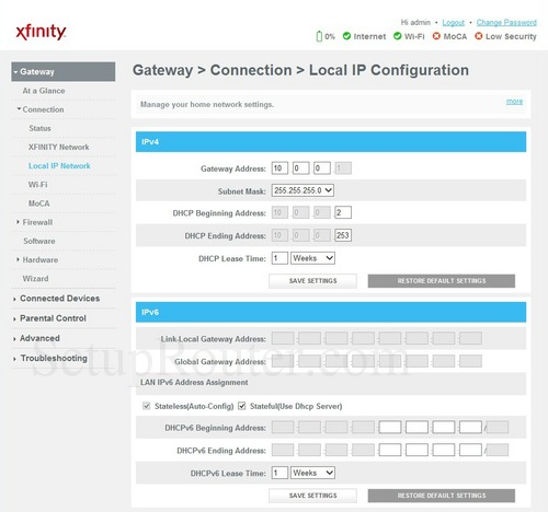 How to change the ip address of the Cisco DPC3941T XFINITY
