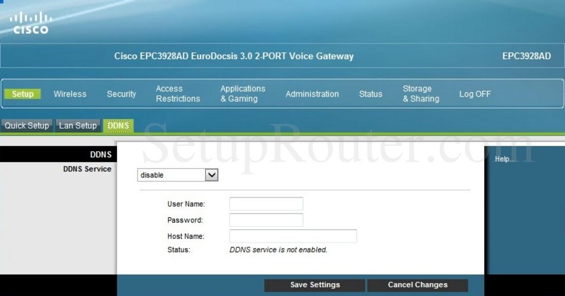 Cisco EPC3928AD Screenshot DDNS