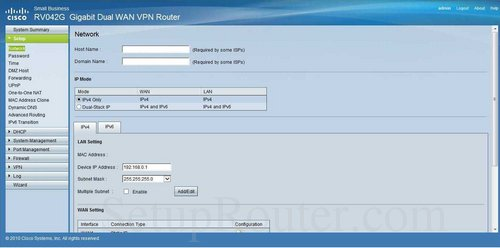 How to change the ip address of the Cisco RV042G