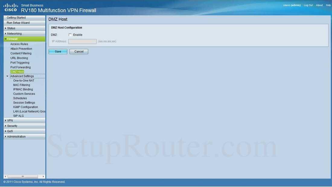 Cisco RV180 Screenshot DMZHost