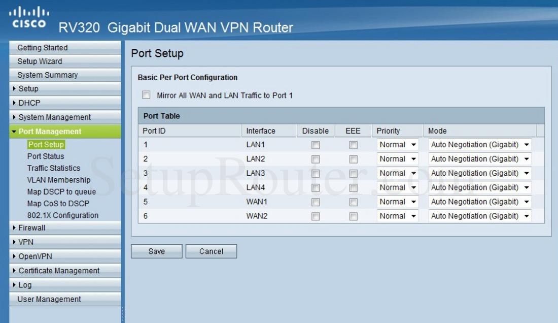 Cisco RV320 Screenshot PortSetup