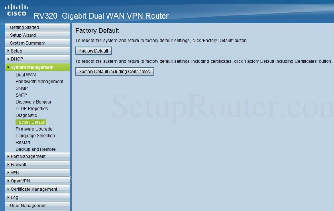 Cisco RV320 Screenshot FactoryDefault