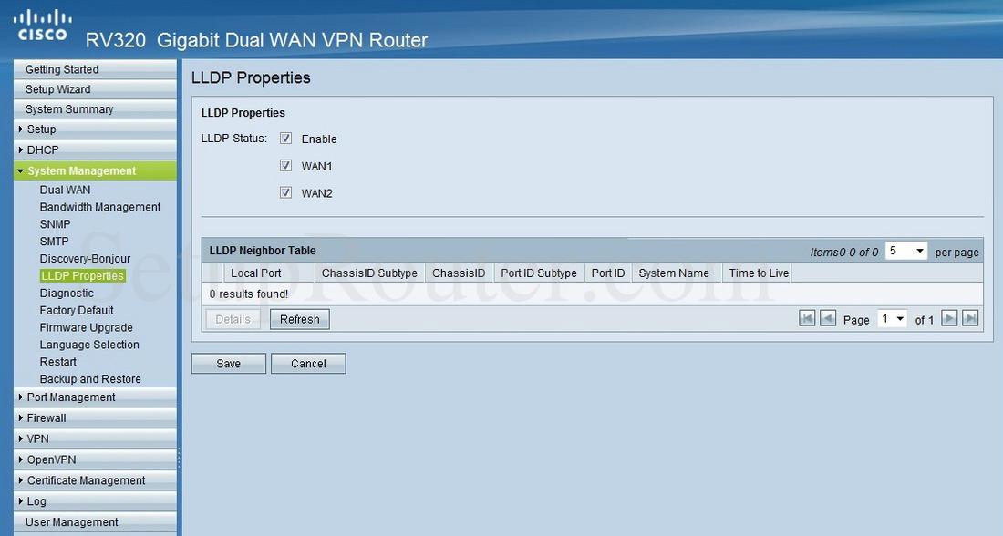 Cisco RV320 Screenshot LLDPProperties