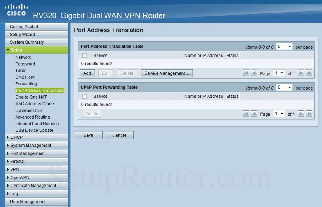 Cisco RV320 Screenshot PortAddressTranslation