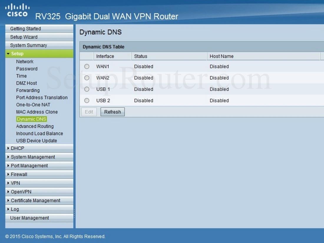 Cisco RV325 Screenshot DynamicDNS