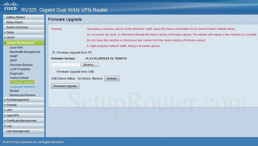 Cisco RV325 Screenshot FirmwareUpgrade