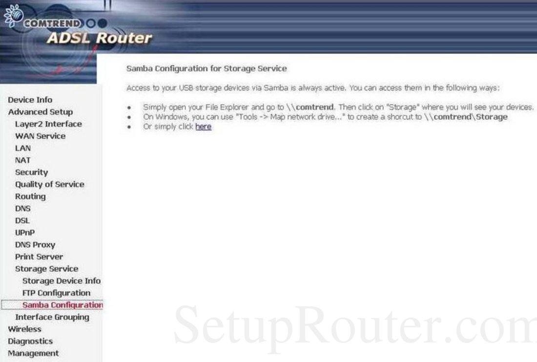 Comtrend AR-5381u Screenshot Storage Service Samba Configuration