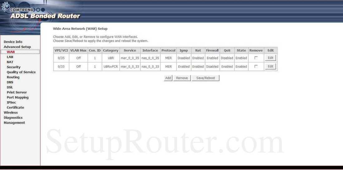 Keywords On The Comtrend NexusLink 5631 WAN Setup Screenshot