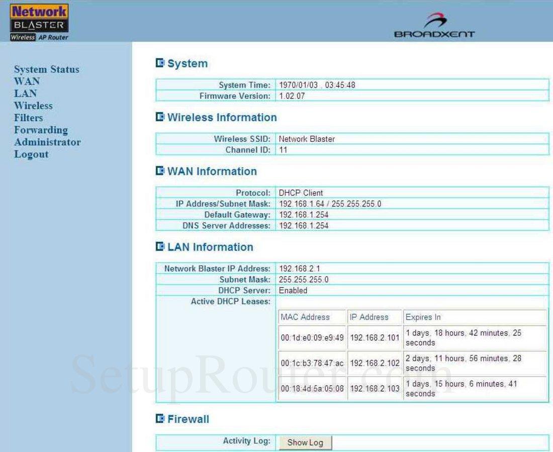 Creative Network-Blaster-CW2202-5 Screenshot System Status