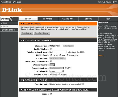 Setup WiFi on the Dlink DAP-1522-Bridge-Mode