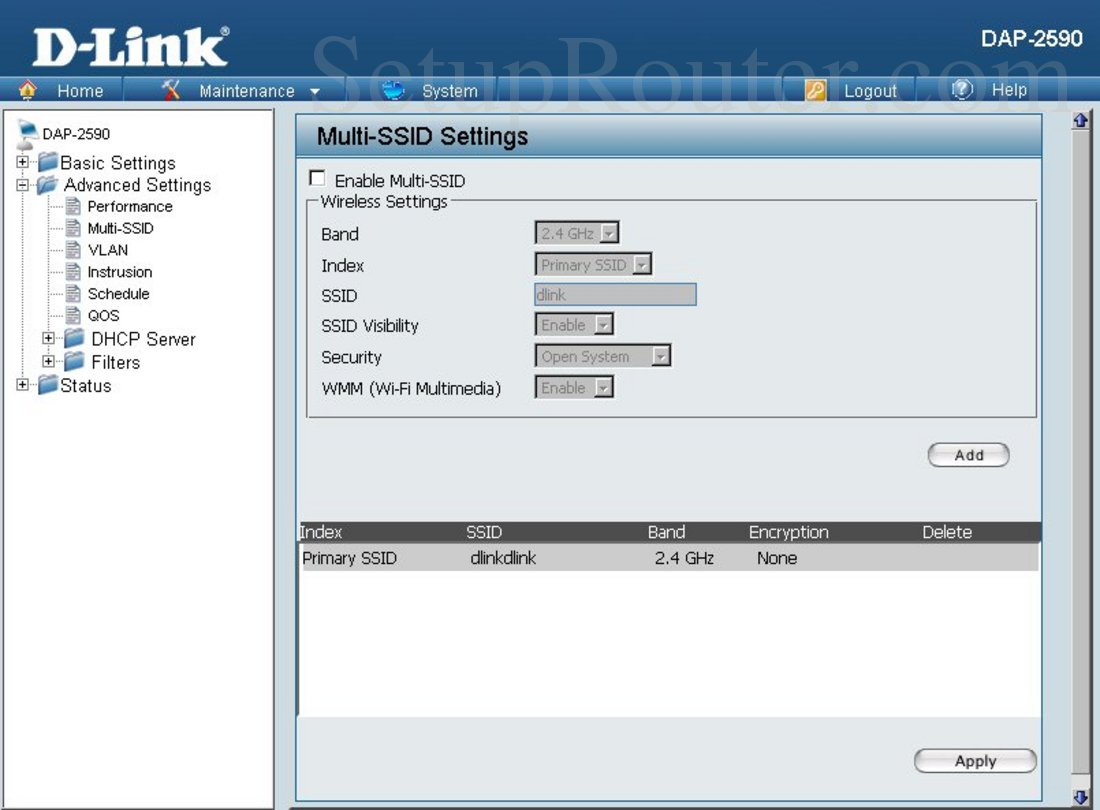 Dlink DAP-2590 Screenshot Multi-SSID Settings