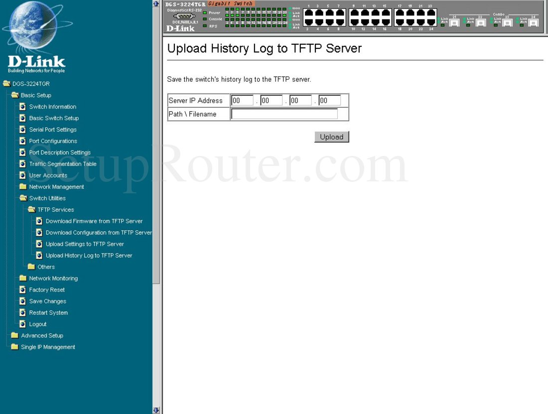 Dlink DGS-3224TGR Screenshot Upload History Log to TFTP Server