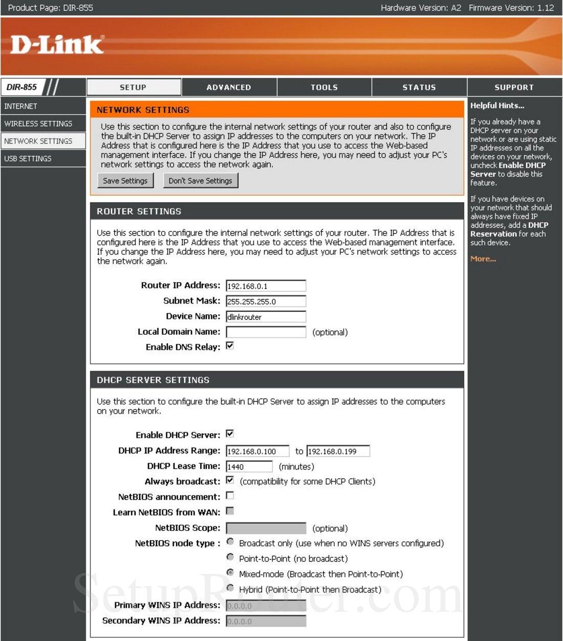 Dlink DIR-855 Screenshot Network Settings
