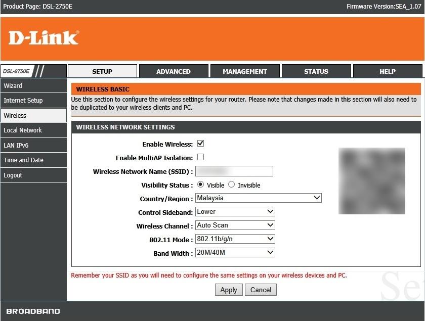 Dlink DSL-2750E Screenshots