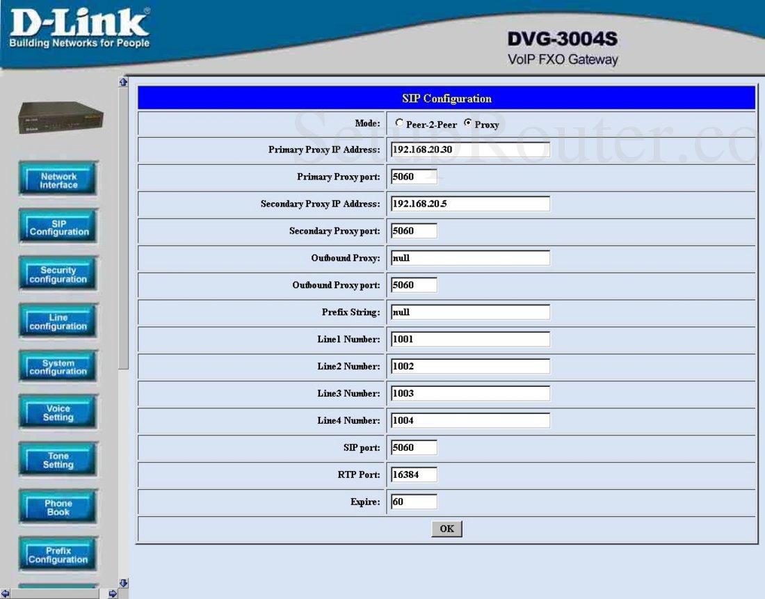 Dlink DVG-3004S Screenshot SIP Configuration