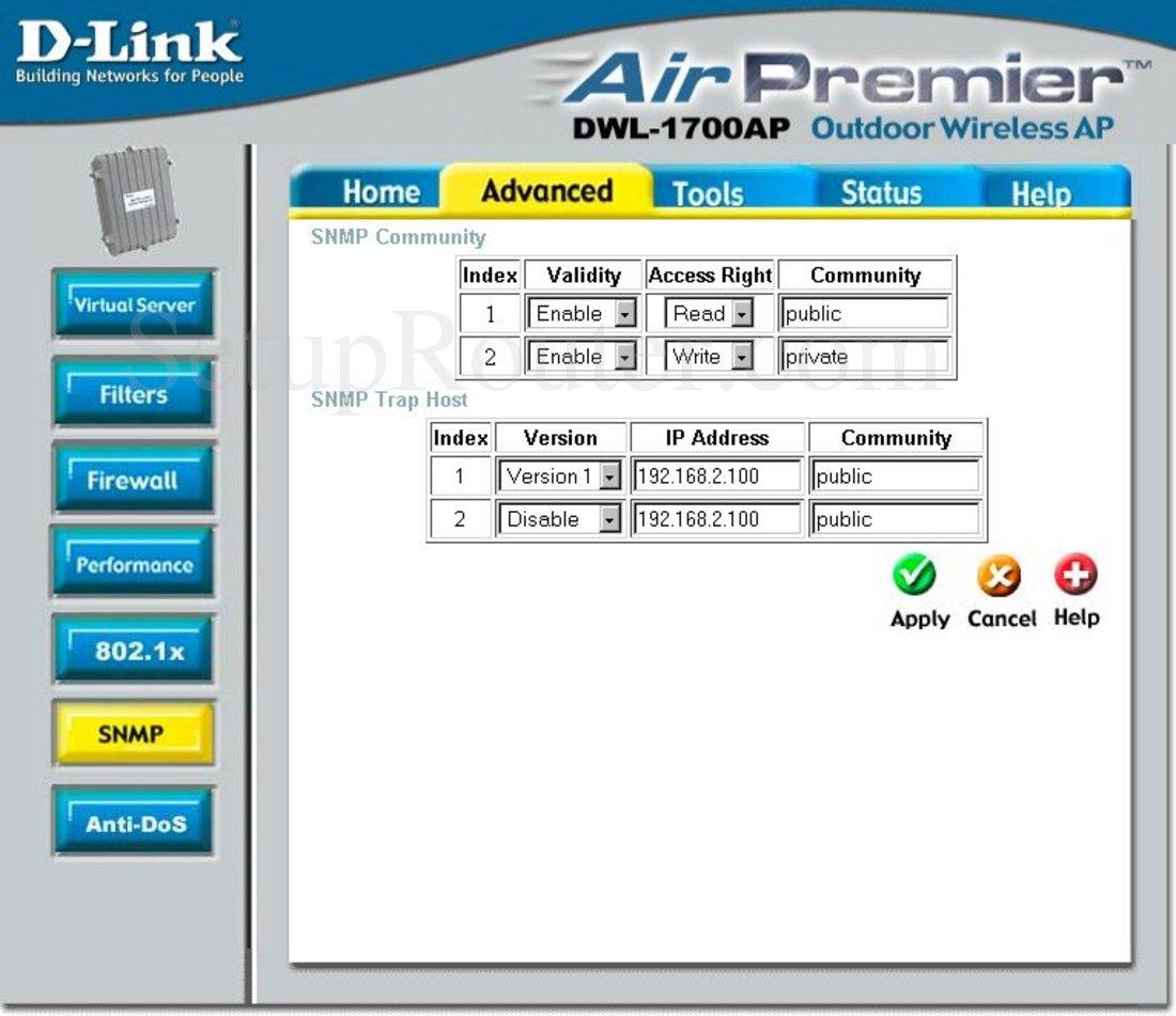 Dlink DWL-1700AP Screenshot SNMP Configuration