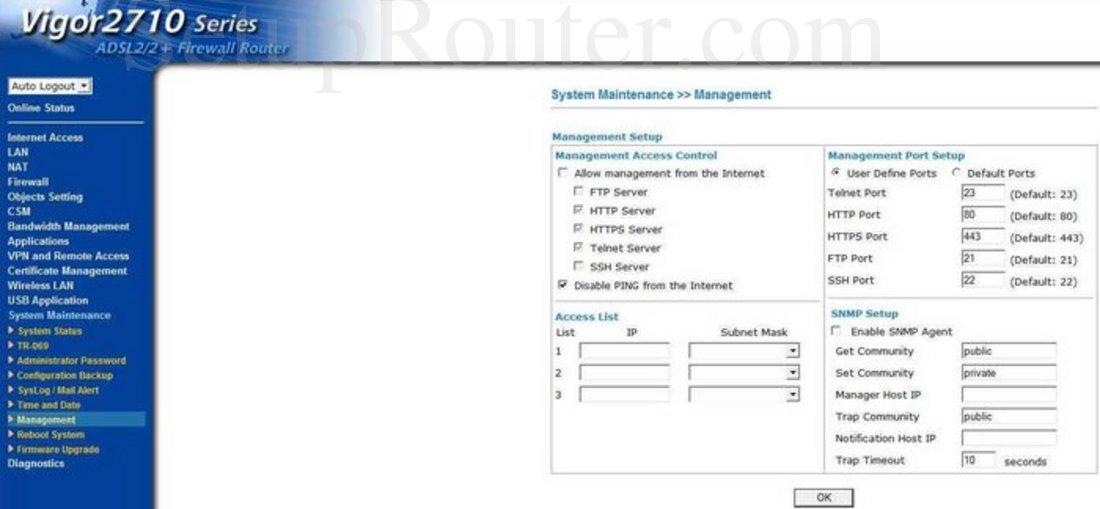 DrayTek Vigor-2710 Screenshot System Maintenance Management