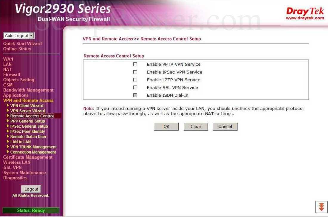 Draytek Vigor-2930 Screenshot VPN and Remote Access - Remote Access