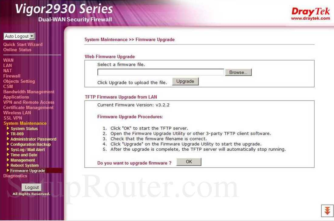 Draytek Vigor-2930n Screenshot System Maintenance - Firmware