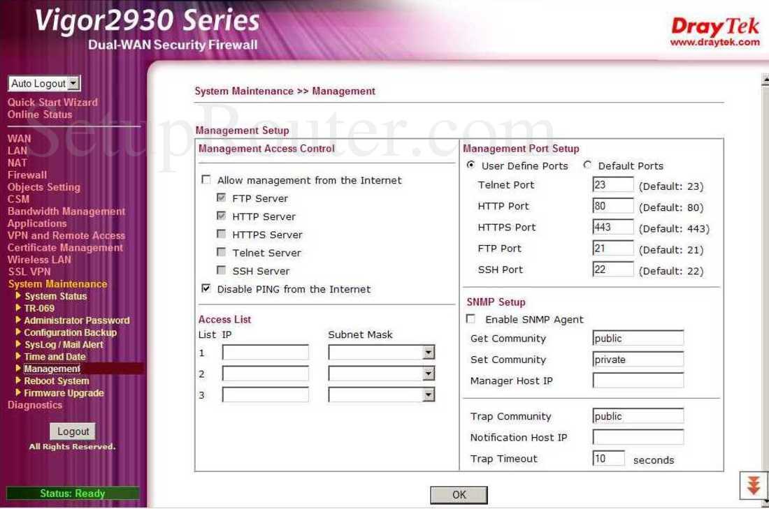 Draytek Vigor-2930n Screenshot System Maintenance - Management