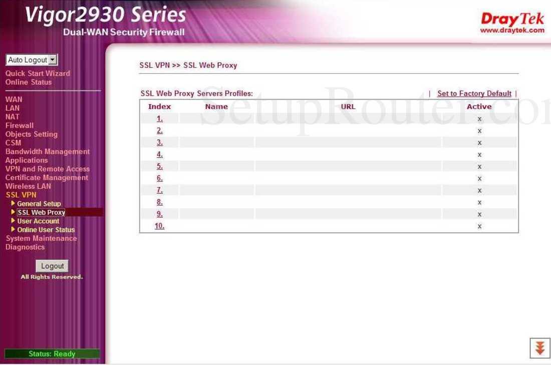 Draytek Vigor-2930n Screenshot SSL VPN - SSL Web Proxy