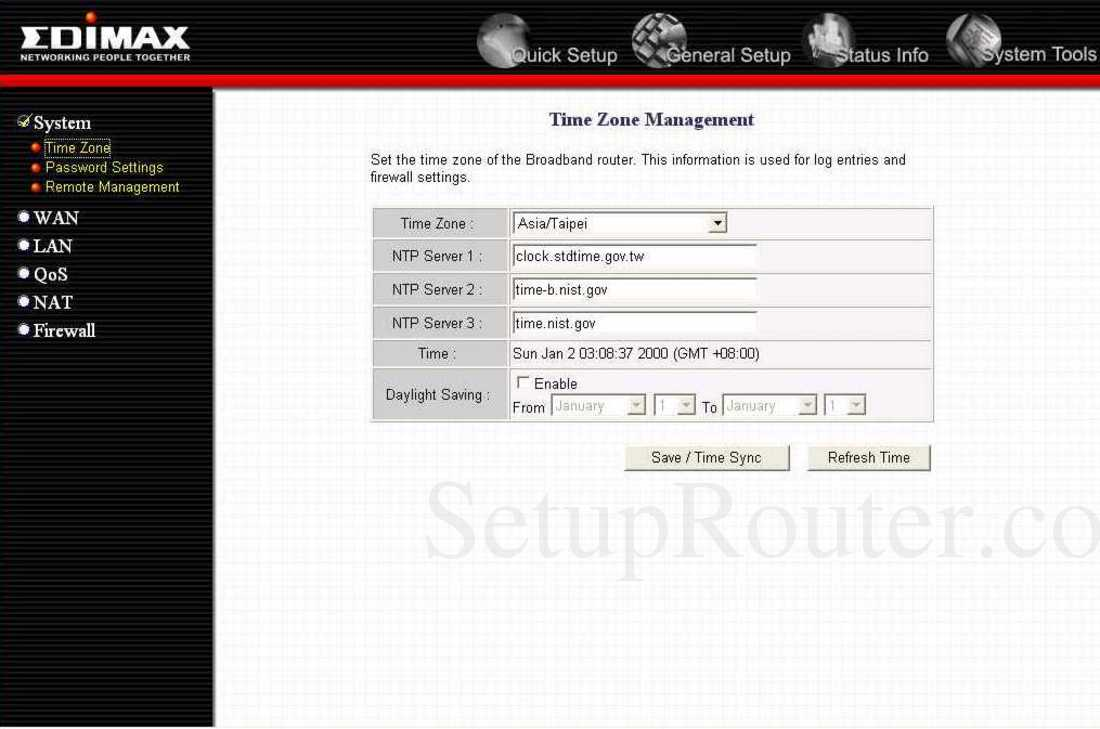 Edimax BR-6214K Screenshot Time Zone