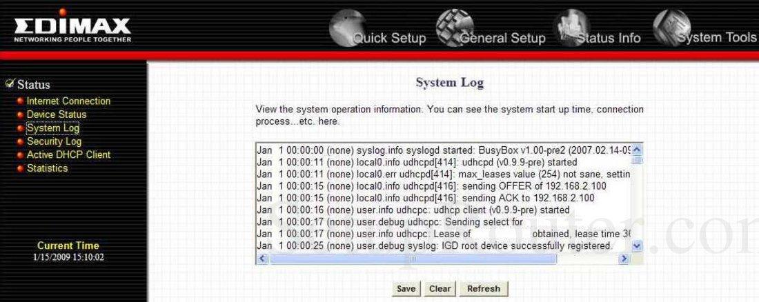 Edimax BR-6504n Screenshot System Log