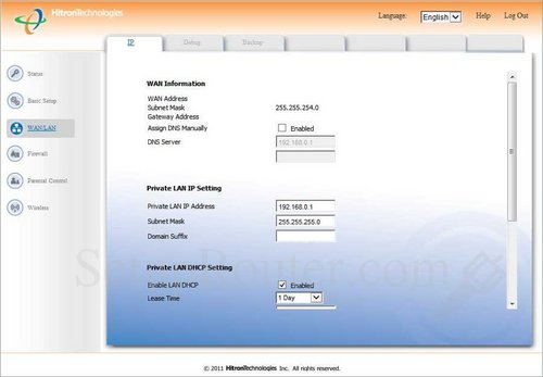 How to change the ip address of the Hitron-Technologies CGN2-ROG