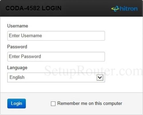How to Login to the Hitron Technologies CODA-4582