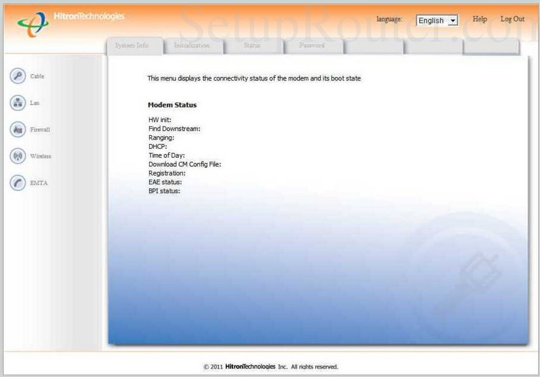 Hitron-Technologies CVE-30360 Screenshot Modem Status