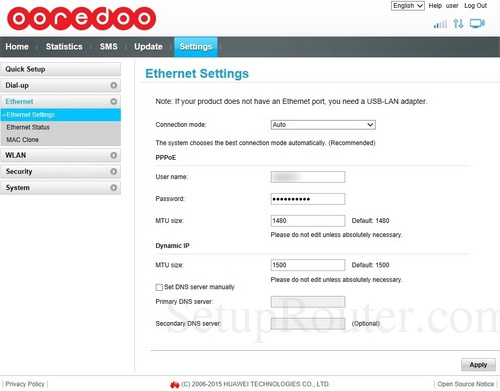 How to change the DNS settings on the Huawei B310s-927
