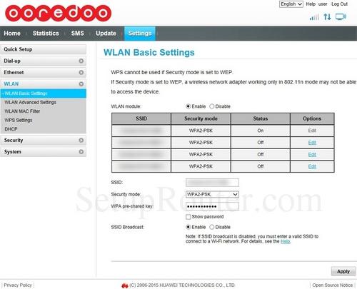 Setup WiFi on the Huawei B310s-927