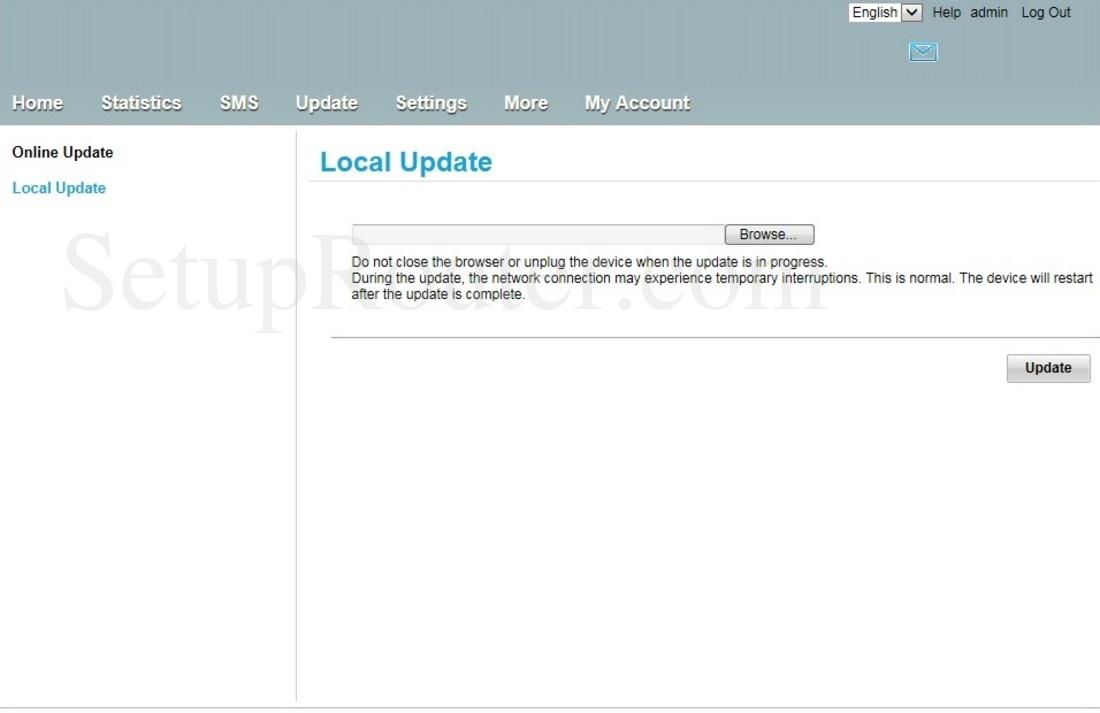 Huawei B315s-22 Zain Screenshot LocalUpdate