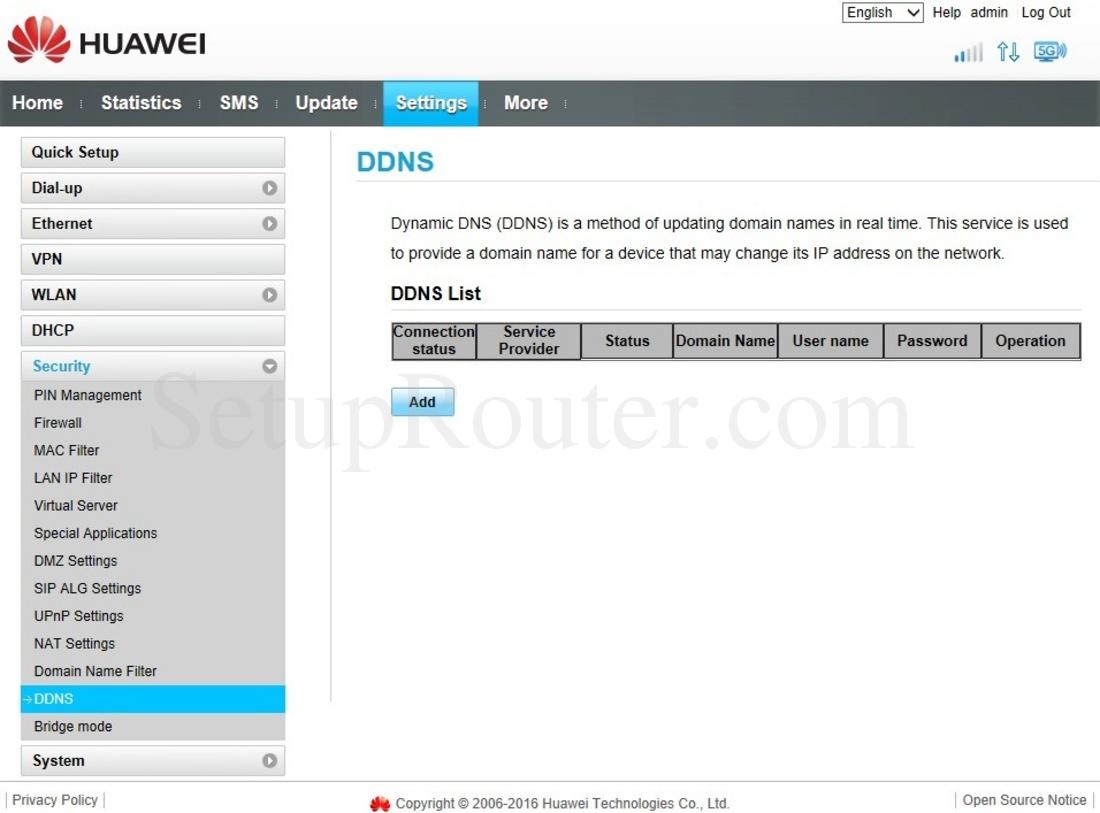 Huawei B525s-23a Screenshot DDNS