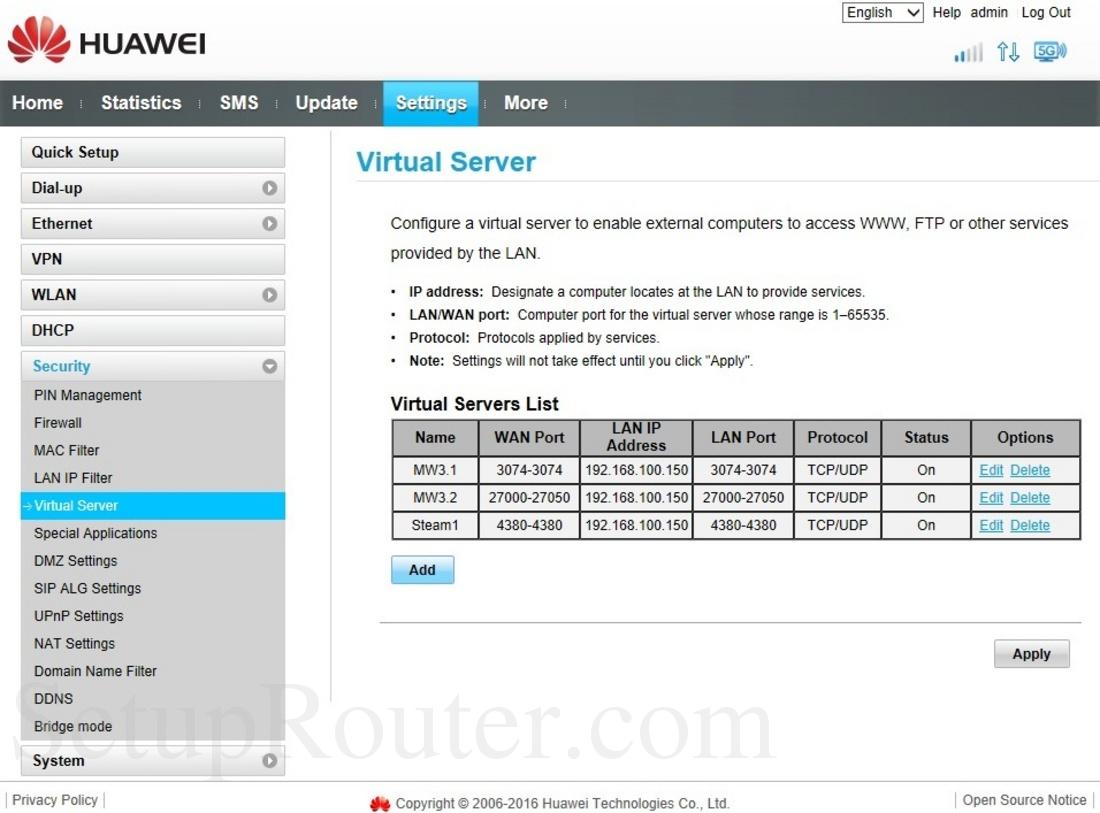 Huawei B525s-23a Screenshot VirtualServer