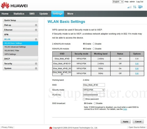 Setup WiFi on the Huawei B525s-23a