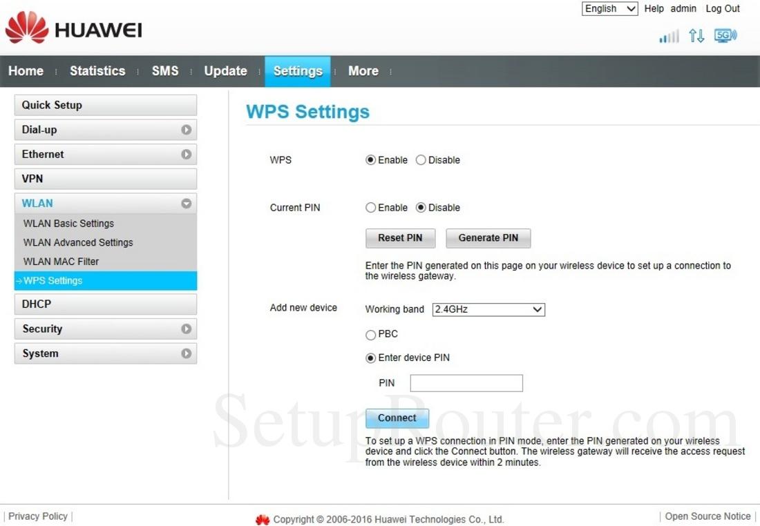 Huawei B525s-23a Screenshot WPSSettings