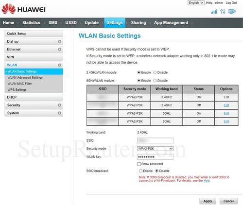 Setup WiFi on the Huawei B525s-95a
