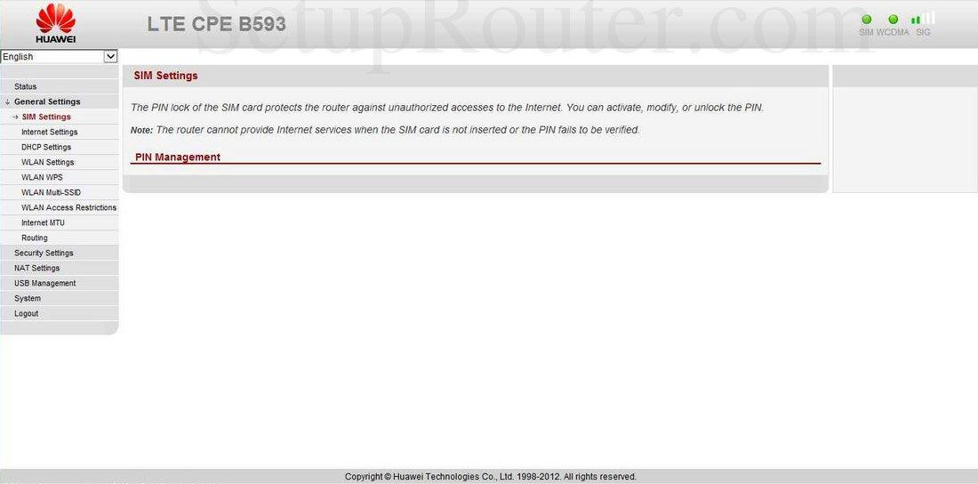 Huawei B593 Screenshot SIM Settings