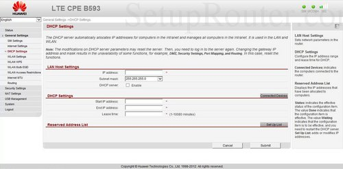 How to change the ip address of the Huawei B593
